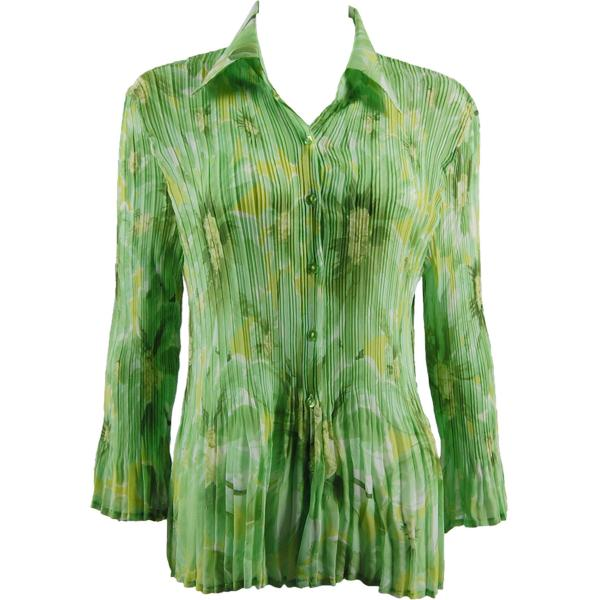 wholesale Georgette Mini Pleats - Blouse CHBL Daisies - Green - One Size Fits (4-10)