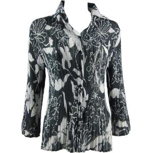 wholesale Georgette Mini Pleats - Blouse Floral - White on Black - One Size (S-XL)