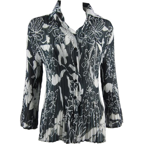 wholesale Georgette Mini Pleats - Blouse CHBL Floral - White on Black - One Size Fits (4-10)