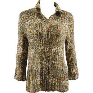 wholesale Georgette Mini Pleats - Blouse Leopard Print - One Size (S-XL)