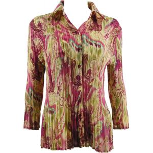 wholesale Georgette Mini Pleats - Blouse Pink-Lime Paisley  - One Size (S-XL)