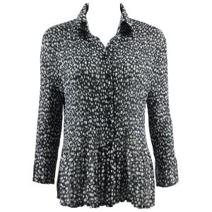 wholesale Georgette Mini Pleats - Blouse Polka Dot Black-White - One Size (S-XL)