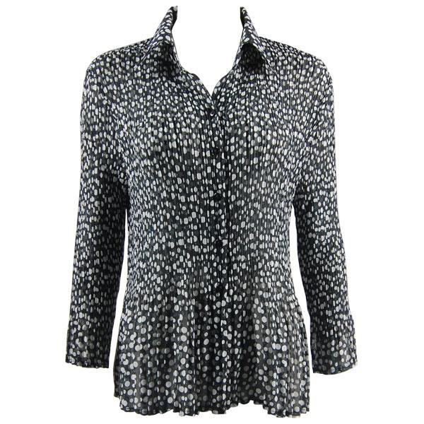 wholesale Georgette Mini Pleats - Blouse CHBL Polka Dot Black-White - One Size Fits (4-10)
