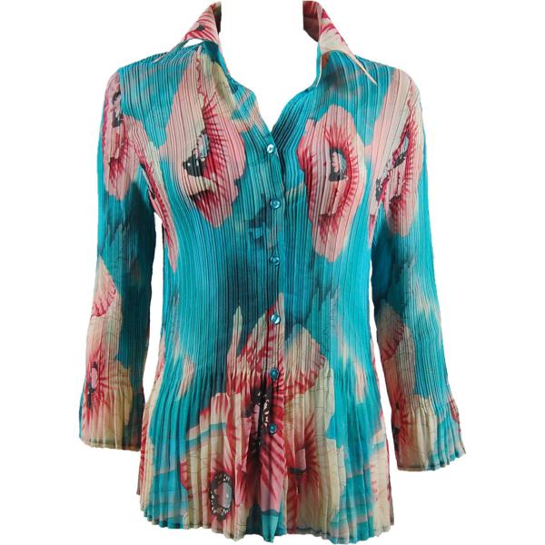 wholesale Georgette Mini Pleats - Blouse CHBL Poppies - Aqua  - One Size Fits (4-10)