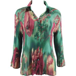 wholesale Georgette Mini Pleats - Blouse Poppies - Green - One Size (S-XL)