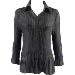 wholesale Georgette Mini Pleats - Blouse Solid Black - One Size (S-XL)