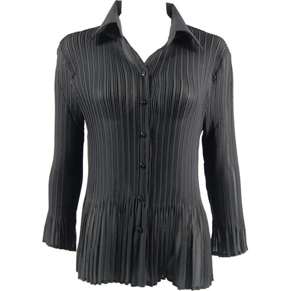 wholesale Georgette Mini Pleats - Blouse CHBL Solid Black - One Size Fits (4-10)