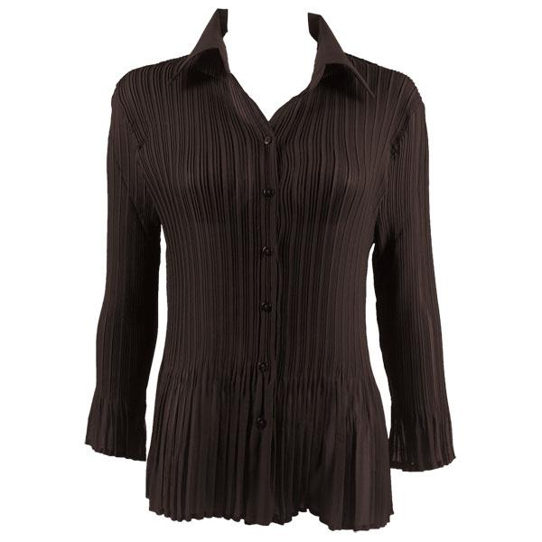 wholesale Georgette Mini Pleats - Blouse CHBL Solid Dark Brown - One Size Fits (4-10)