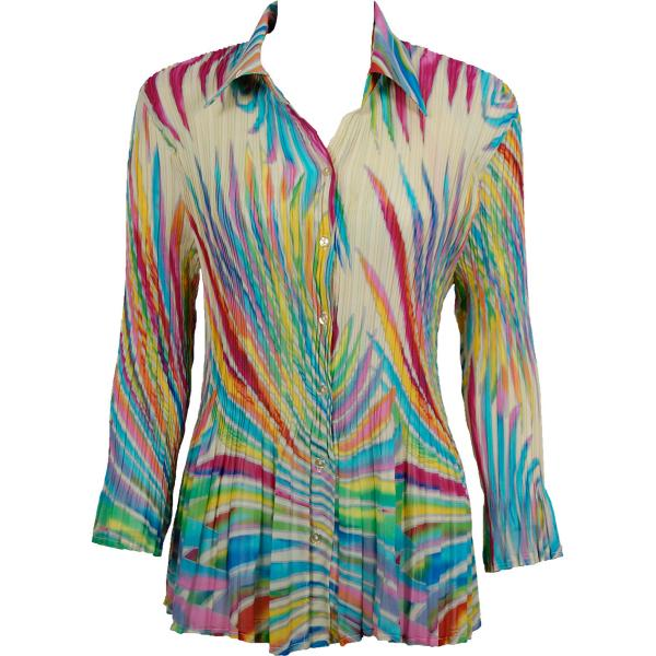 wholesale Georgette Mini Pleats - Blouse CHBL Rainbow Swirl on Ivory  - One Size (XS-L)