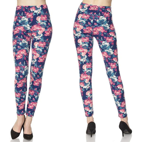 Wholesale Brushed Fiber Leggings - Ankle Length Prints SOL0P N105 Floral Print - Brushed Fiber Leggings - Ankle Length Prints SOL0P - One Size Fits (S-L)