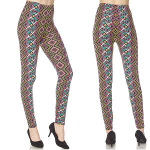 Brushed Fiber Leggings - Ankle Length Prints N165 Tribal Print - One Size Fits All