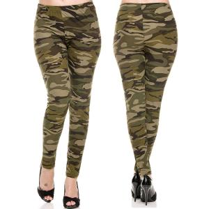 Brushed Fiber Leggings - Ankle Length Prints F120 Camouflage Brushed Fiber Leggings - Ankle Length Prints - Plus Size (XL-2X)