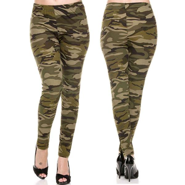 Wholesale Brushed Fiber Leggings - Ankle Length Prints SOL0 F120 Camouflage Brushed Fiber Leggings - Ankle Length Prints - Curvy Fits (L-1X)