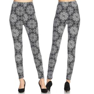Brushed Fiber Leggings - Ankle Length Prints N172 Black and White Paisley Brushed Fiber Leggings - Ankle Length Prints - Plus Size (XL-2X)