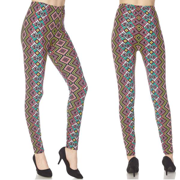 Wholesale Brushed Fiber Leggings - Ankle Length Prints SOL0 N165 Tribal Print Brushed Fiber Leggings P - Ankle Length Prints - Curvy Fits (L-1X)