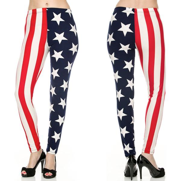 Wholesale Brushed Fiber Leggings - Ankle Length Prints SOL0P F173 American Flag- Brushed Fiber Leggings - Ankle Length Prints SOL0P - One Size Fits (S-L)
