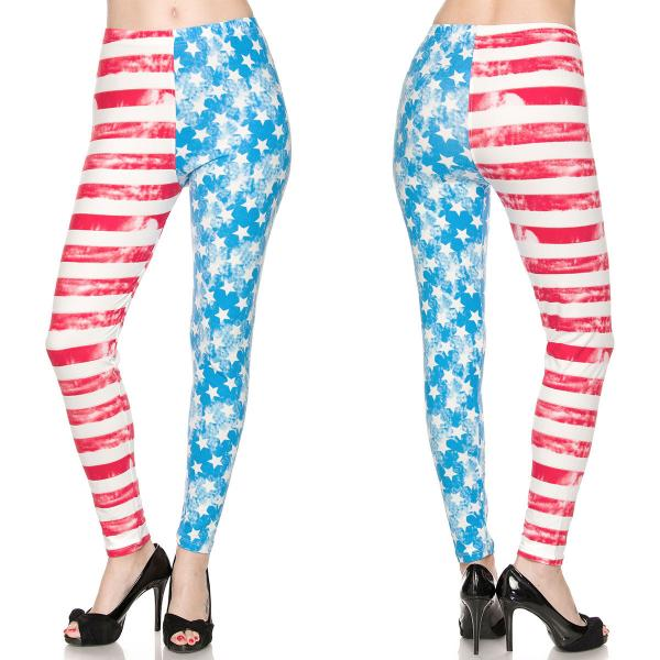 Wholesale Brushed Fiber Leggings - Ankle Length Prints SOL0 F240 American Flag - Brushed Fiber Leggings - Ankle Length Prints SOL0P - Curvy Fits (L-1X)
