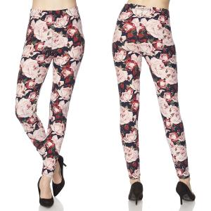 Brushed Fiber Leggings - Ankle Length Prints N102 Floral Print Brushed Fiber Leggings - Ankle Length Prints - Plus Size (XL-2X)
