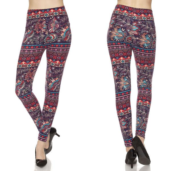 Wholesale Brushed Fiber Leggings - Ankle Length Prints SOL0P M010 Paisley Feather Brushed Fiber Leggings P - Ankle Length Prints - Curvy Fits (L-1X)