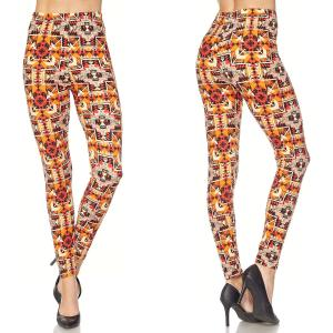 Brushed Fiber Leggings - Ankle Length Prints N241 Arrow Multi Brushed Fiber Leggings - Ankle Length Prints - Plus Size (XL-2X)