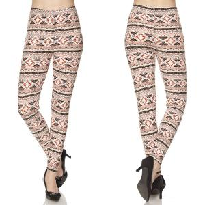 Brushed Fiber Leggings - Ankle Length Prints N145 Aztec Print - Plus Size (XL-2X)