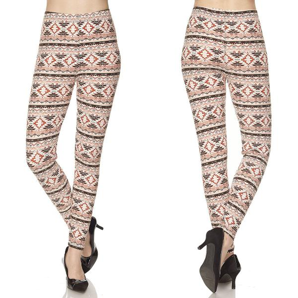 Wholesale Brushed Fiber Leggings - Ankle Length Prints SOL0P N145 Aztec Print- Brushed Fiber Leggings P - Ankle Length Prints SOL0P - Curvy Fits (L-1X)