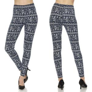 Brushed Fiber Leggings - Ankle Length Prints F305 Elephant Print - Navy MB - Plus Size (XL-2X)