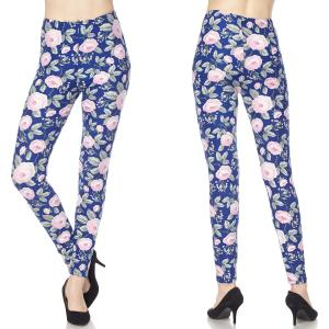 Brushed Fiber Leggings - Ankle Length Prints N223 Floral Print Brushed Fiber Leggings - Ankle Length Prints - Plus Size (XL-2X)