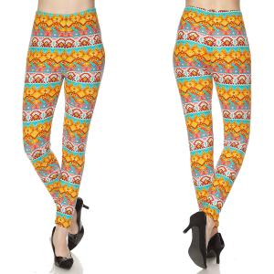Brushed Fiber Leggings - Ankle Length Prints N144 Aztec Print Brushed Fiber Leggings - Ankle Length Prints - Plus Size (XL-2X)