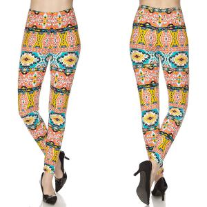 Brushed Fiber Leggings - Ankle Length Prints N146 Aztec Print Brushed Fiber Leggings - Ankle Length Prints - Plus Size (XL-2X)