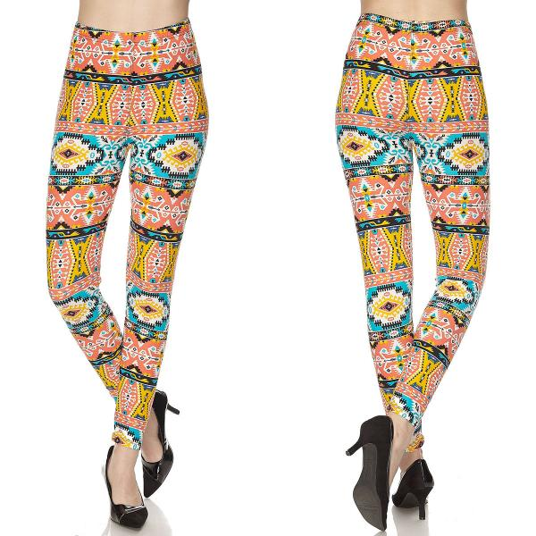 Wholesale Brushed Fiber Leggings - Ankle Length Prints SOL0 N146 Aztec Print Brushed Fiber Leggings P - Ankle Length Prints - Curvy Fits (L-1X)