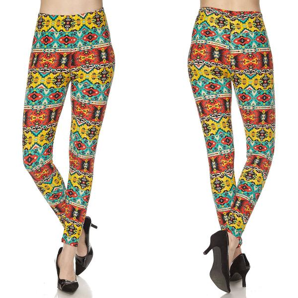 Wholesale Brushed Fiber Leggings - Ankle Length Prints SOL0P N147 Tribal Print Brushed Fiber Leggings P - Ankle Length Prints - Curvy Fits (L-1X)