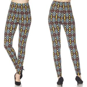 Brushed Fiber Leggings - Ankle Length Prints N163 Aztec Tribal Brushed Fiber Leggings - Ankle Length Prints - Plus Size (XL-2X)