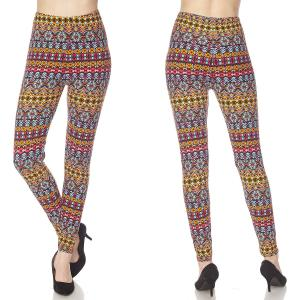 Brushed Fiber Leggings - Ankle Length Prints N170 Tribal Aztec Brushed Fiber Leggings - Ankle Length Prints - Plus Size (XL-2X)