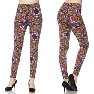 Brushed Fiber Leggings - Ankle Length Prints F646 Baroque Pattern Brushed Fiber Leggings - Ankle Length Prints - Plus Size (XL-2X)