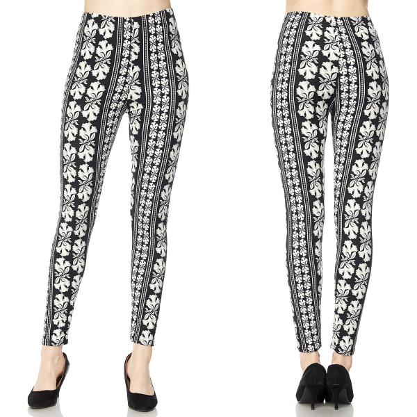 Wholesale Brushed Fiber Leggings - Ankle Length Prints SOL0 F661 Floral Black-White Brushed Fiber Leggings P - Ankle Length Prints - Curvy Fits (L-1X)