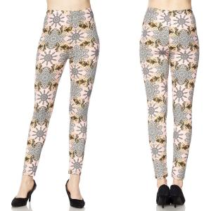 Brushed Fiber Leggings - Ankle Length Prints F652 Wheel Floral  - Plus Size (XL-2X)