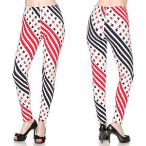 Brushed Fiber Leggings - Ankle Length Prints F239 American Flag MB - Plus Size (XL-2X)