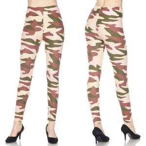 Brushed Fiber Leggings - Ankle Length Prints J127 Underground Camo Brushed Fiber Leggings - Ankle Length Prints - Plus Size (XL-2X)
