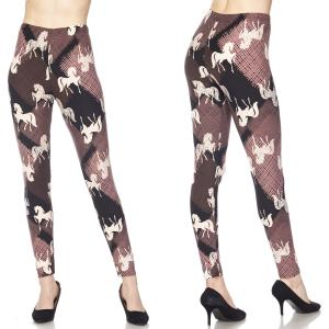 Brushed Fiber Leggings - Ankle Length Prints J203 Running Stallion Brushed Fiber Leggings - Ankle Length Prints - Plus Size (XL-2X)