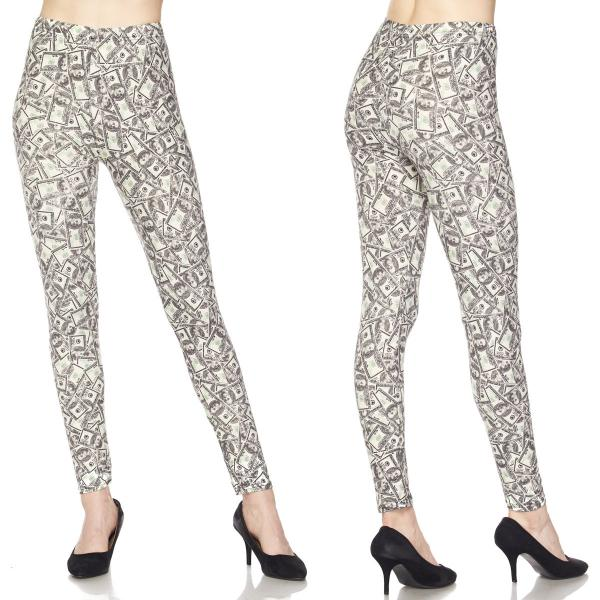 Wholesale Brushed Fiber Leggings - Ankle Length Prints SOL0P J205 Dollar Print Brushed Fiber Leggings - Ankle Length Prints - One Size Fits (S-L)