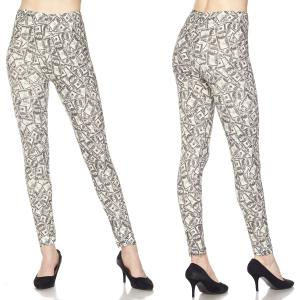 Brushed Fiber Leggings - Ankle Length Prints J205 Dollar Print Brushed Fiber Leggings - Ankle Length Prints - Plus Size (XL-2X)