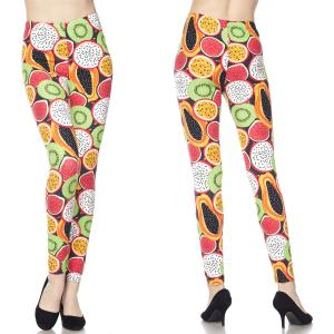 Brushed Fiber Leggings - Ankle Length Prints J188 Tropical Fruits  Brushed Fiber Leggings - Ankle Length Prints - Plus Size (XL-2X)