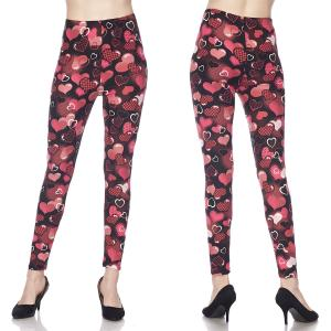 Brushed Fiber Leggings - Ankle Length Prints J244 Heart Print Brushed Fiber Leggings - Ankle Length Prints - Plus Size (XL-2X)
