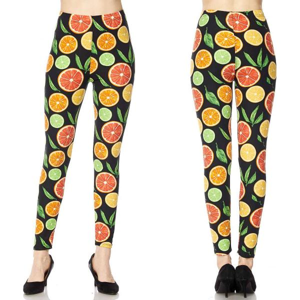 Wholesale Brushed Fiber Leggings - Ankle Length Prints SOL0P J079 Fruit Print Brushed Fiber Leggings P - Ankle Length Prints - Curvy Fits (L-1X)