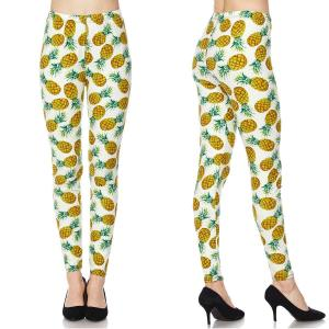 Brushed Fiber Leggings - Ankle Length Prints F633 Pineapple Print Brushed Fiber Leggings - Ankle Length Prints - Plus Size (XL-2X)