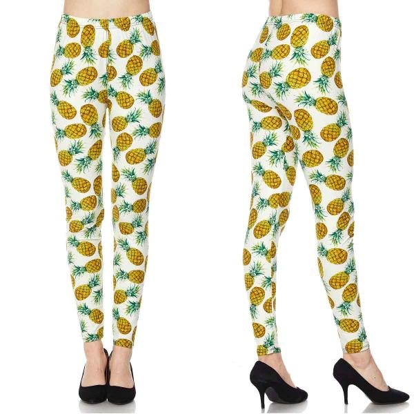 Wholesale Brushed Fiber Leggings - Ankle Length Prints SOL0P F633 Pineapple Print Brushed Fiber Leggings P - Ankle Length Prints - Curvy Fits (L-1X)