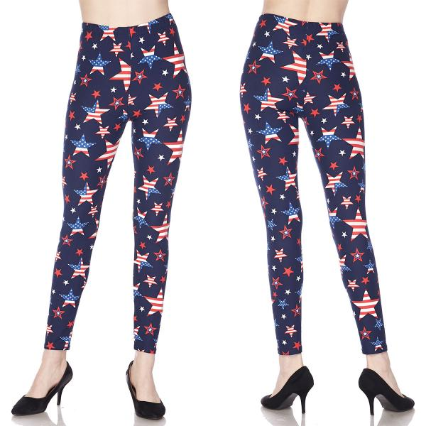 Wholesale Brushed Fiber Leggings - Ankle Length Prints SOL0 J299 American Flag Stars Brushed Fiber Leggings - Ankle Length Prints - One Size Fits (S-L)