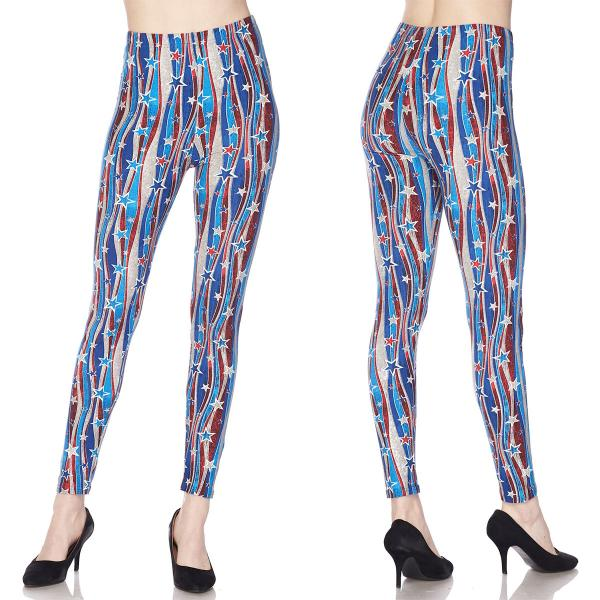 Wholesale Brushed Fiber Leggings - Ankle Length Prints SOL0P J302 Stars and Stripes Brushed Fiber Leggings P - Ankle Length Prints - Curvy Fits (L-1X)