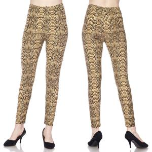 Brushed Fiber Leggings - Ankle Length Prints L003 Snake Skin Brushed Fiber Leggings - Ankle Length Prints - One Size Fits All